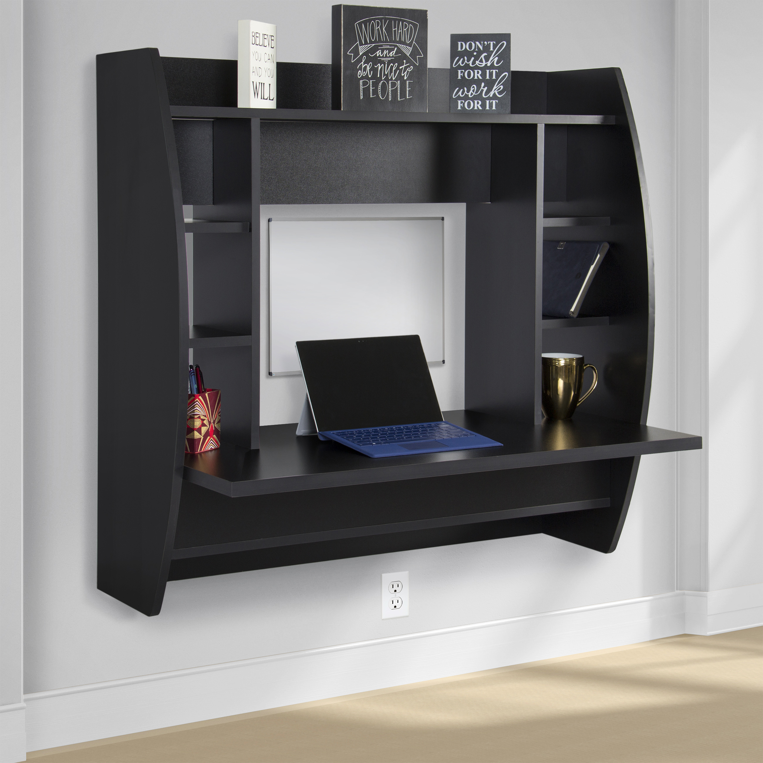 Best Choice Products Wall Mount Floating Computer Desk With Storage Shelves Home Work Station - Black