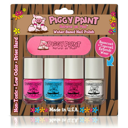 Piggy Paint - four pack Nail Polish LOL, Sea-quin, Glamour Girl, & Basecoat + Topcoat (Best Matte Nail Polish Top Coat)