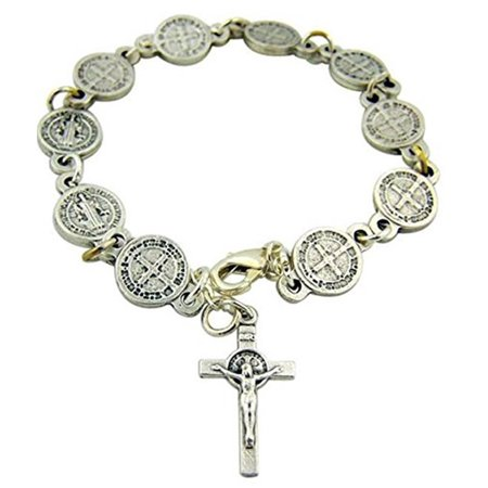 Silver Tone Saint St Benedict Medal Bracelet with Crucifix, 8 Inch