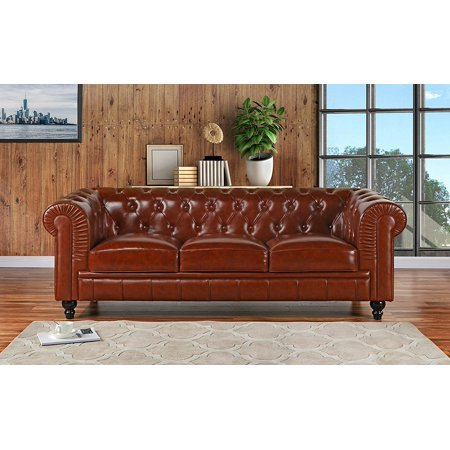 Classic Scroll Arm Leather Chesterfield Sofa (Light Brown) ()