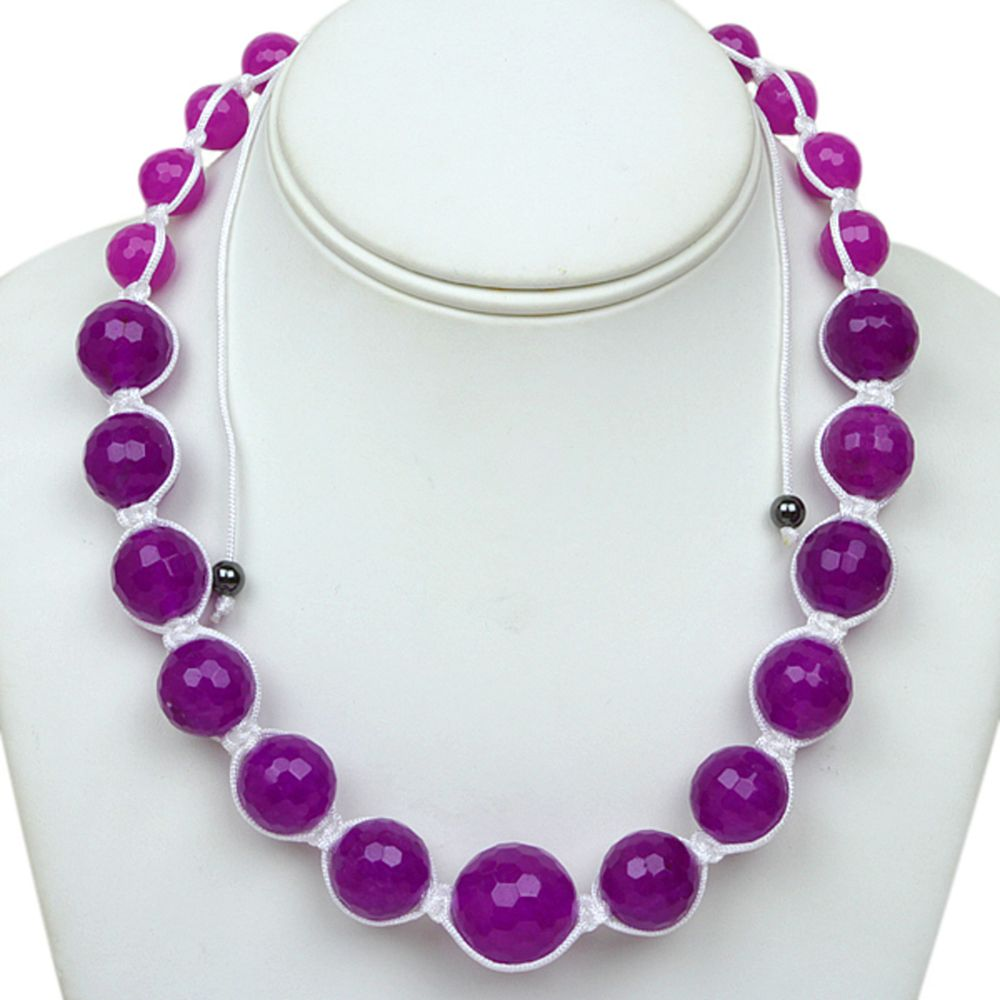 "18"" Purple Agate Faceted Round Beads in Black Lace Adjustable Necklace (18""-24"")"