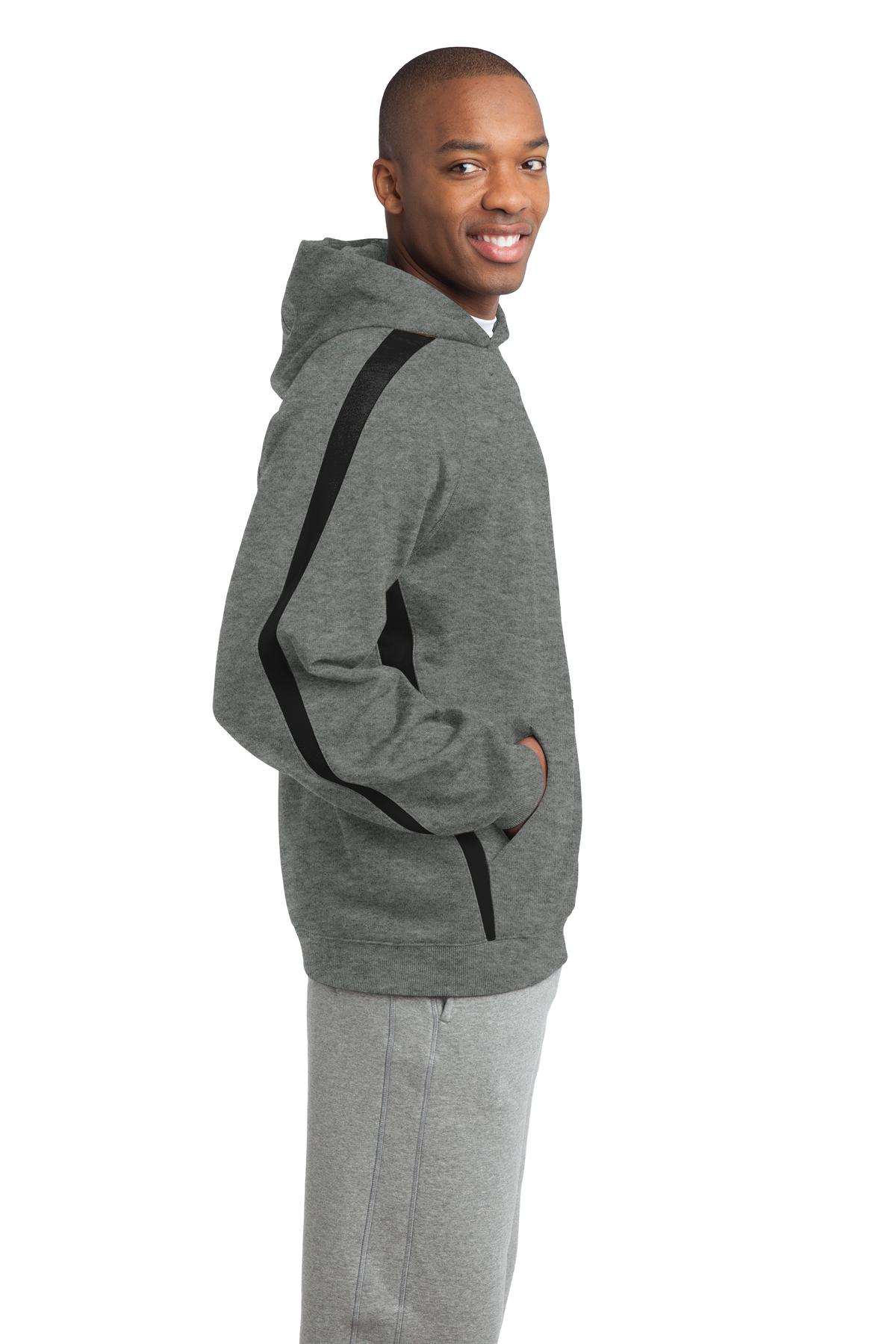 SPORT-TEK Mens Sleeve Stripe Pullover Hooded Sweatshirt
