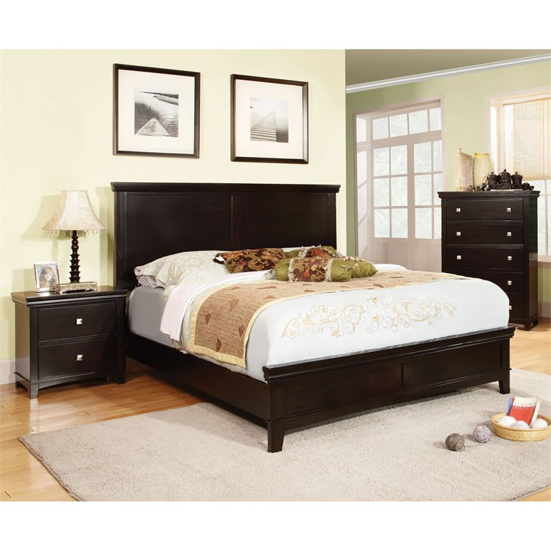 Furniture of America Fanquite 3 Piece King Bedroom Set in Espresso by Furniture of America