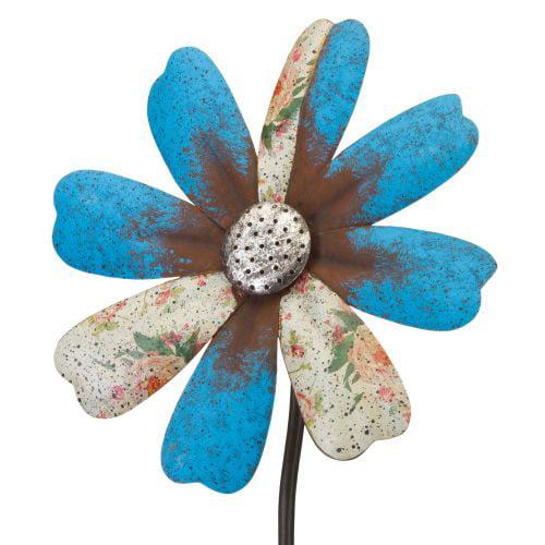 Regal Art  and  Gift 12294 - Blue Flower Wind Spinner Garden Stake Lawn Decor