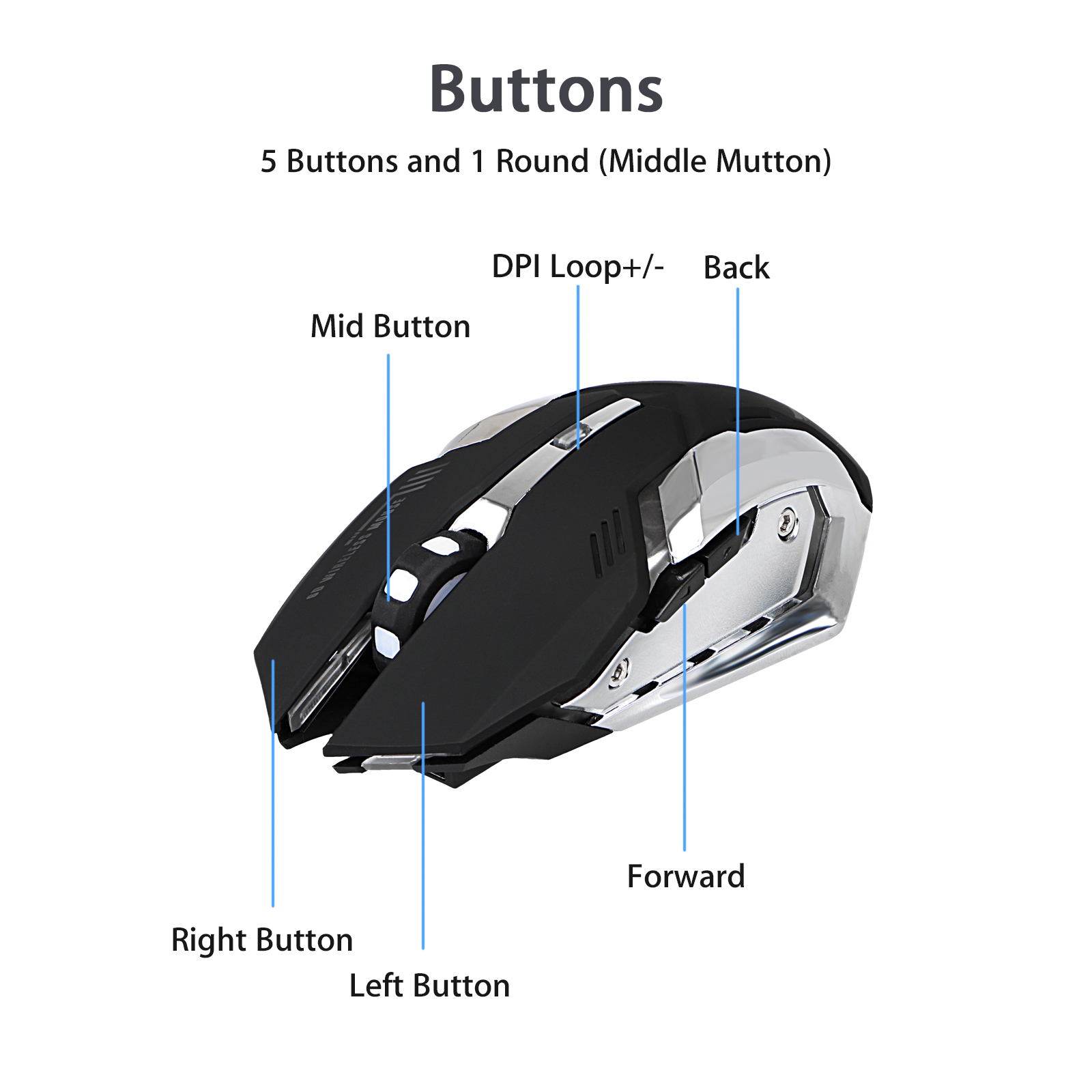 X70 Wireless Gaming Mouse Tsv 800 2400dpi With 5 Buttons 7 Color Diagram Led Backlit Rechargeable Usb Optical Mice