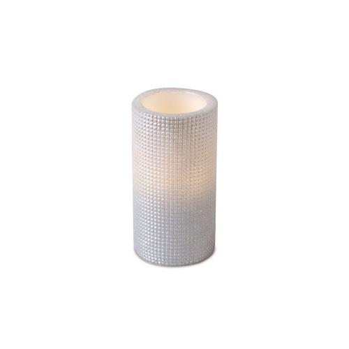 """Pack of 6 Ivory Grid Pattern Flameless Wax LED Pillar Candles w/Timers 3"""" x 6"""""""