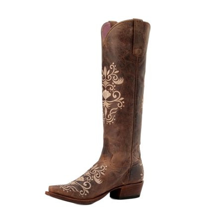 (Miss Macie Western Boots Womens Ada Distressed Pull On Brown U6014-01)