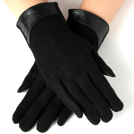 Ribbed Wool Gloves (Womens Evening Gloves Leather Trim Touchscreen Texting Wool Mittens)