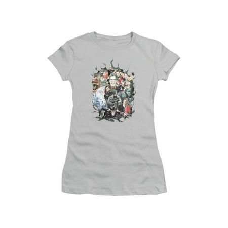 Batman DC Comics Cape of Villians Joker Catwoman Bane Ivy Juniors Sheer T-Shirt - Batman Girl Villians
