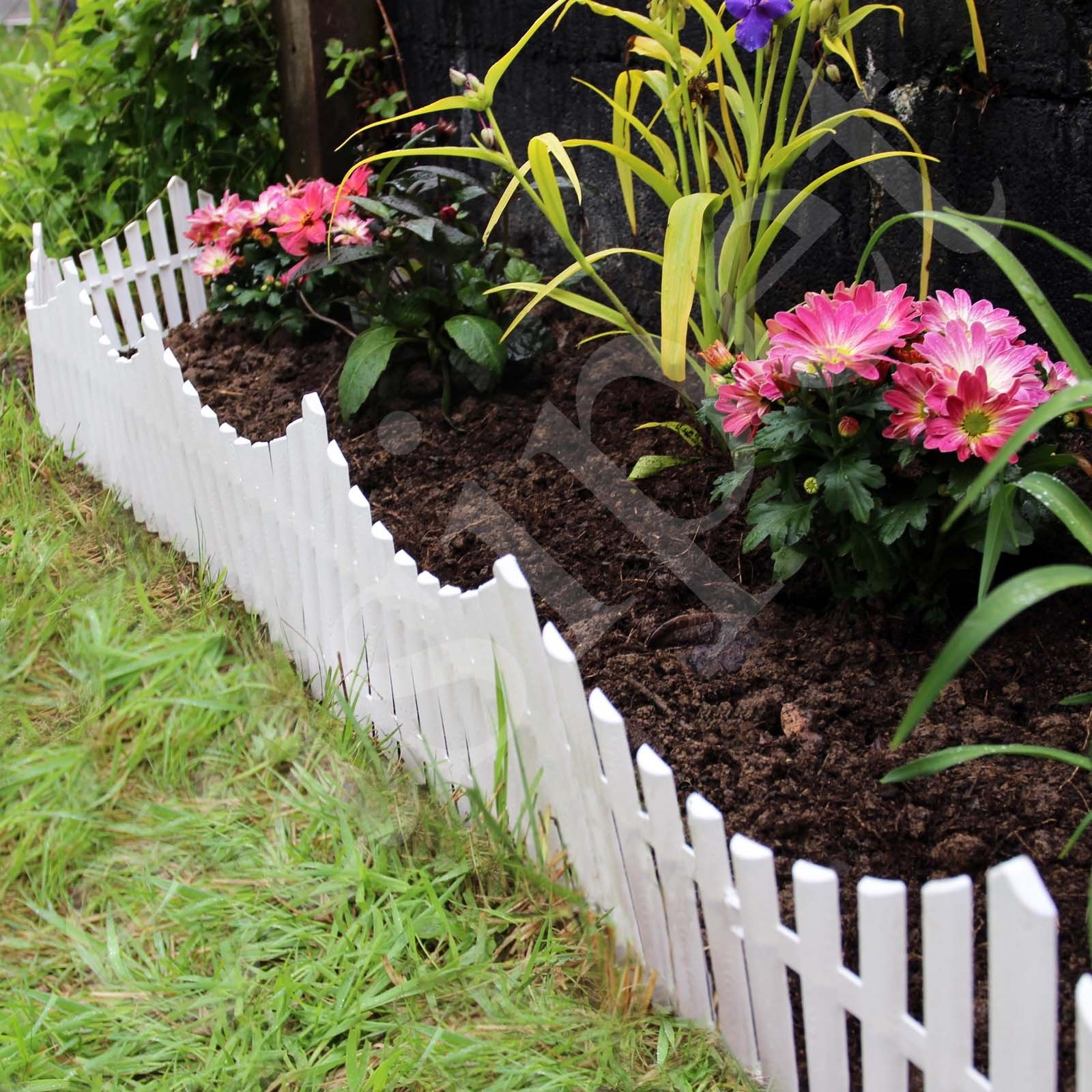12 White Flexible Plastic Garden Picket Fence Lawn Grass Edge Edging Border  7.32m