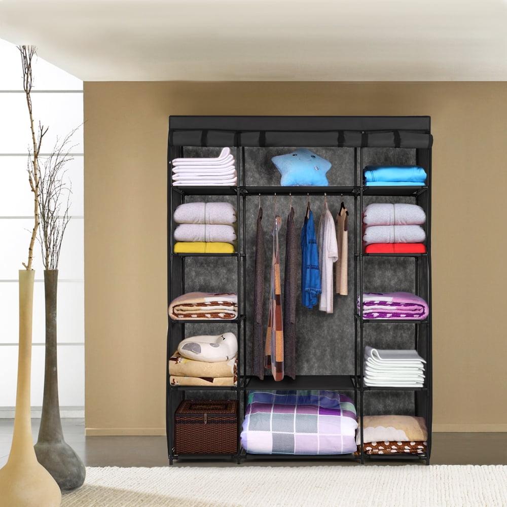 iKayaa Fashion Portable Fabric Closet Wardrobe Cabinet Garment Clothing Storage Organizer Clothes Hanger Rack with Shelves