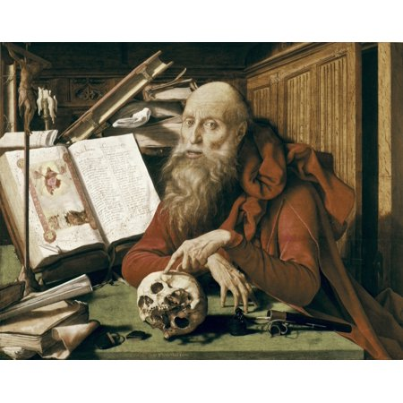 Reymerswaele Marinus Claeszoon Van Saint Jerome In His Cell Flemish Art Oil On Wood Spain Madrid St Fernando Royal Academy Museum  Aisaeverett Collection Poster Print