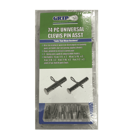 Clevis Pin Assortment - GRIP 74pc Universal Clevis Pins Assortment Hitch Pin Clips Hardware Kit 43120