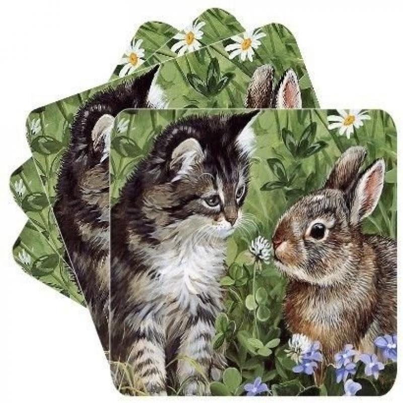 New Set of 4 Kitty And Bunny Square Coasters