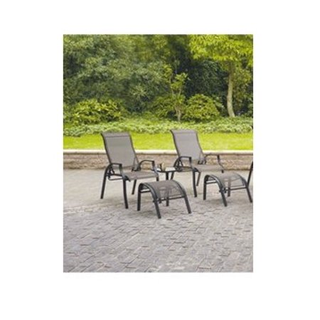 Barbados Set of 6 Sling Outdoor Dining Chairs with 2 Ottomans and 1 Side table