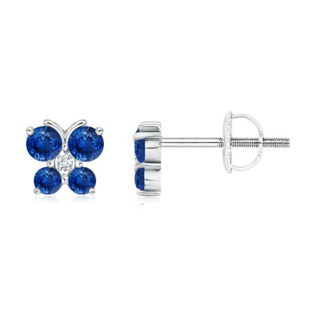 d5d53d017 Angara - Mother's Day Jewelry Sale - Blue Sapphire Butterfly Stud Earrings  with Diamond in Platinum (2.3mm Blue Sapphire) - SE0226SD-PT-AAA-2.3 -  Walmart. ...