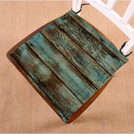 GCKG Wood Printed Chair Cushion,Vintage Rustic Old Barn Wood Printed Chair Pad Seat Cushion Chair Cushion Floor Cushion with Breathable Memory Inner Cushion and Ties Two Sides Printing 16x16
