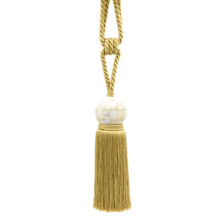 "Stunning Light Gold  Curtain and Drapery Tassel Tieback W/ 8 1/2"" Tassel, accented with an elaborate 2 1/2"" Mother of Pearl Ball, 28"" Spread (embrace), Style# TBMOP8 Color: Champagne -852"