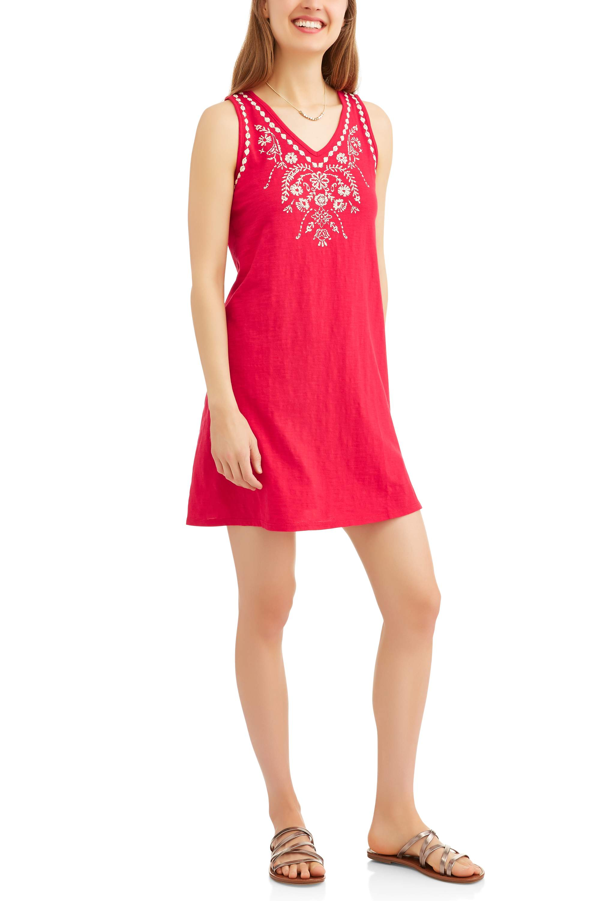 Moda Women's A-line Tank Dress with Embroidery
