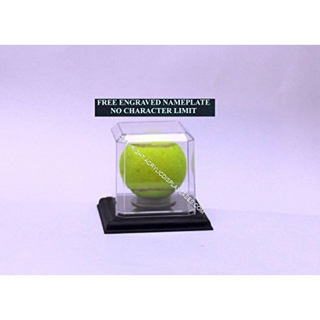 Tennis Ball Personalized Engraved Acrylic Display Case with Beveled Edges and Removable Black (Base Edge Bevel)