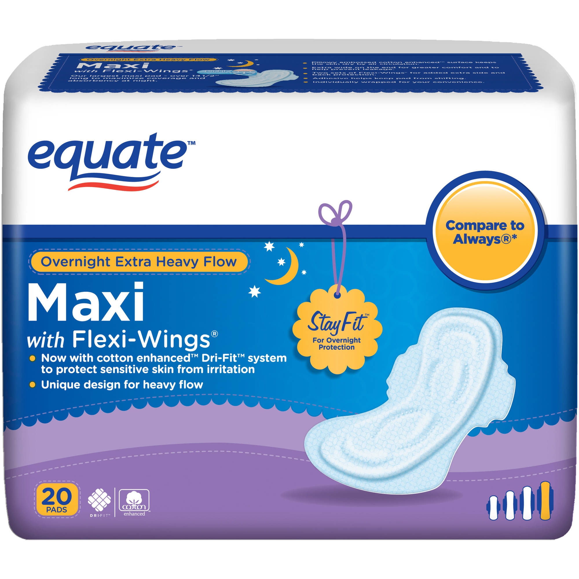 Equate Overnight Extra Heavy Flow Maxi Pads with Flexi-Wings, 20 count