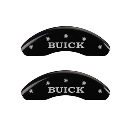 Set of 4 caliper covers, Engraved Front: Buick - Engraved Rear: Buick Shield, Black powder coat finish, silver characters.