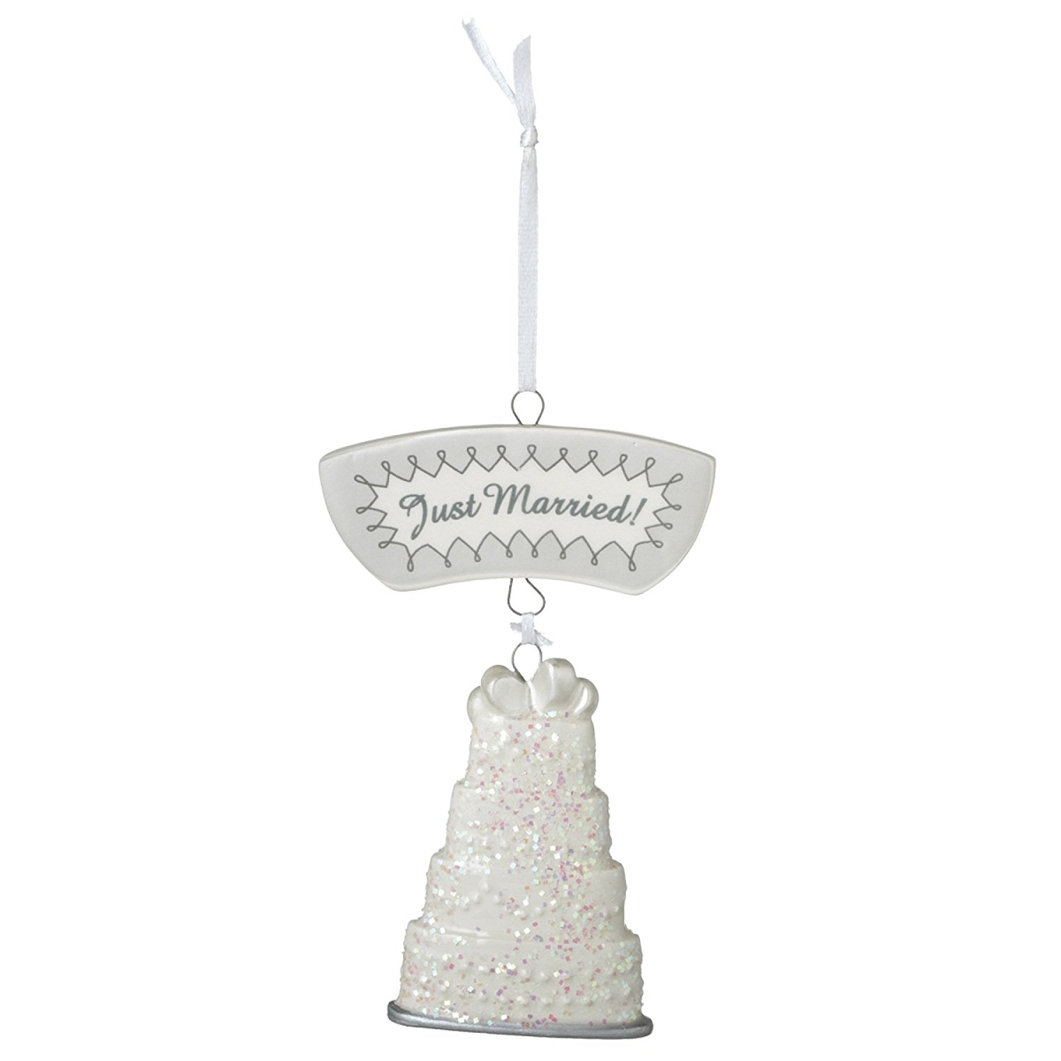 wedding cake christmas tree ornament just married wedding cake resin tree 22199