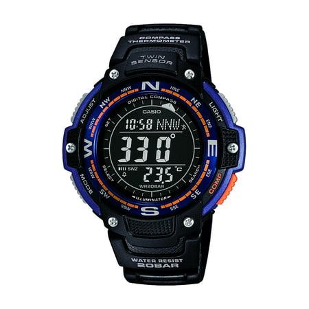 Temp Compass Mens Watch - Casio Men's Twin Sensor Compass Watch, Black