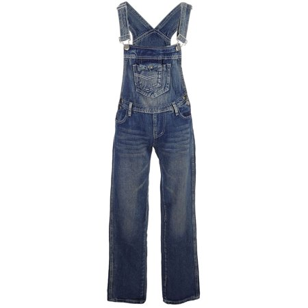 Anna-Kaci Womens Blue Denim Jean Straight Leg Distressed Pocket Bib Overalls (Adult Overalls)