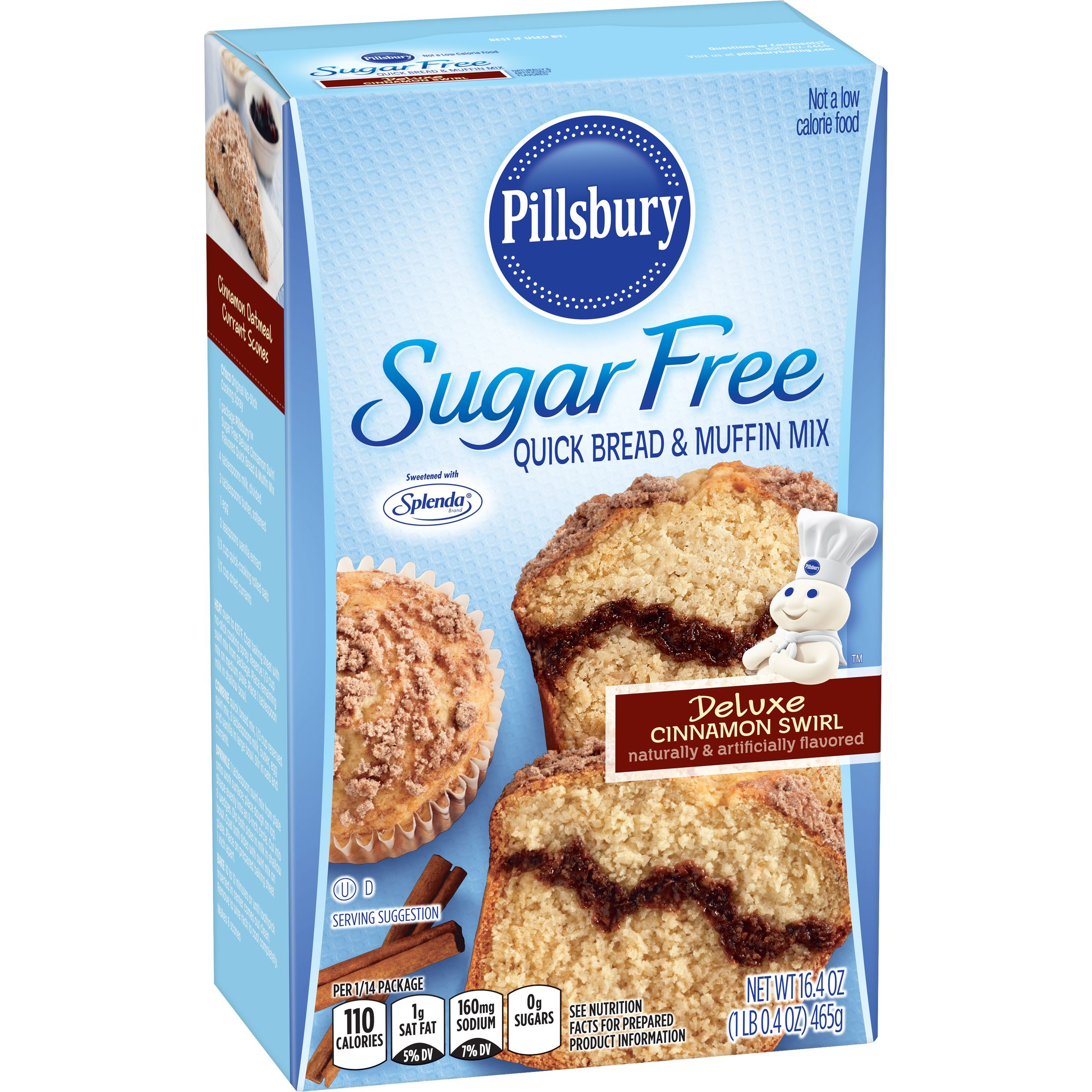 (5 Pack) Pillsbury Sugar Free Cinnamon Swirl Quick Bread & Muffin Mix, 16.4-Ounce