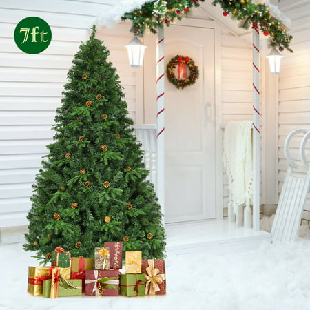 Gymax Pre-Lit 7' Premium Spruce Artificial Christmas Tree Hinged 460 LED Lights Pine Cones ()