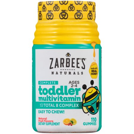 Zarbee's Naturals Toddler Complete Multivitamin Gummies with our Total B Complex and Essential Vitamins, Sweetened with Honey, Natural Fruit Flavors, 110 Gummies (1