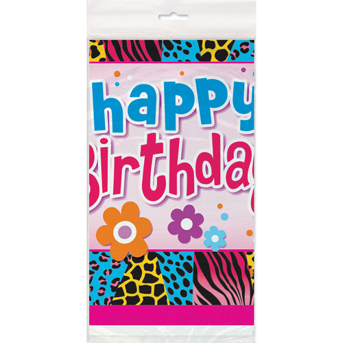 "Plastic Wild Birthday Table Cover, 84"" x 54"""