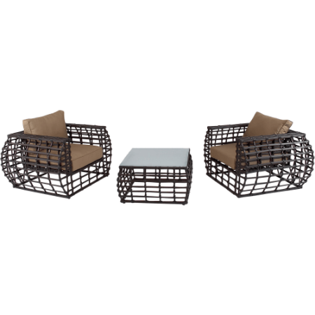 Hanover Outdoor Furniture Soho 3 Piece Modern Lounge Set