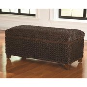 A Line Furniture Tropical Dark Brown Hand Woven Banana Leaf Storage Trunk
