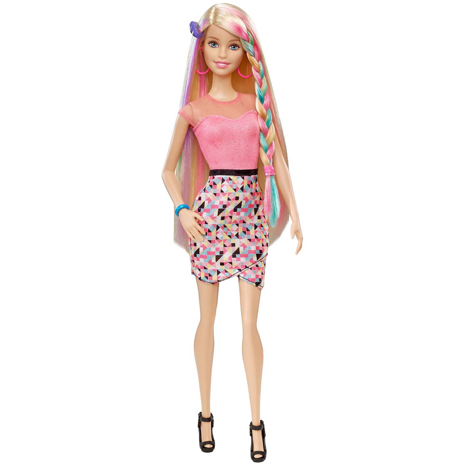 Barbie Rainbow Hair Color Change Styling Doll Walmart Com
