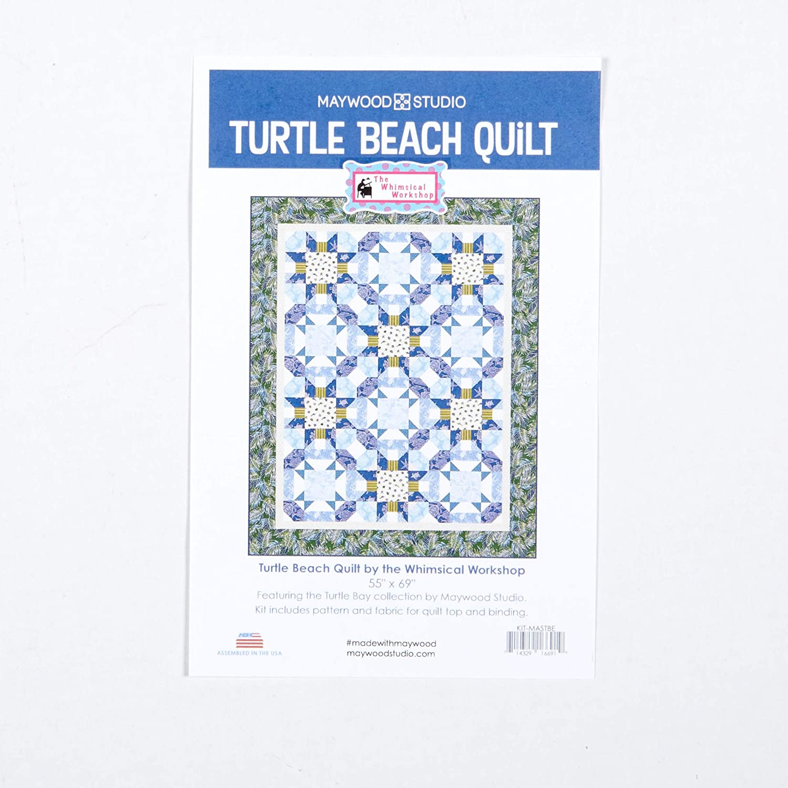 Turtle Bay Maywood Fabric Beach Ocean Themed Quilt Top Kit 55x69 Pattern Fabric for Top and Binding
