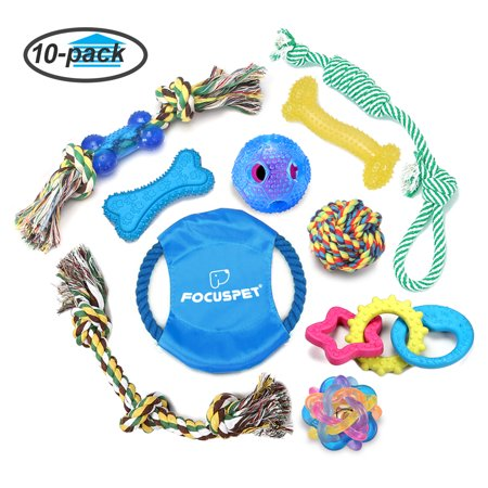 FOCUSPET Dog Chew Toys, Dog Rope Toys Set 10 Pack Dog Chew Toys for Dog Teeth Grinding Cleaning Ball Play IQ Training Interactive Knot Dental Health Chewing Biting Durable Toys