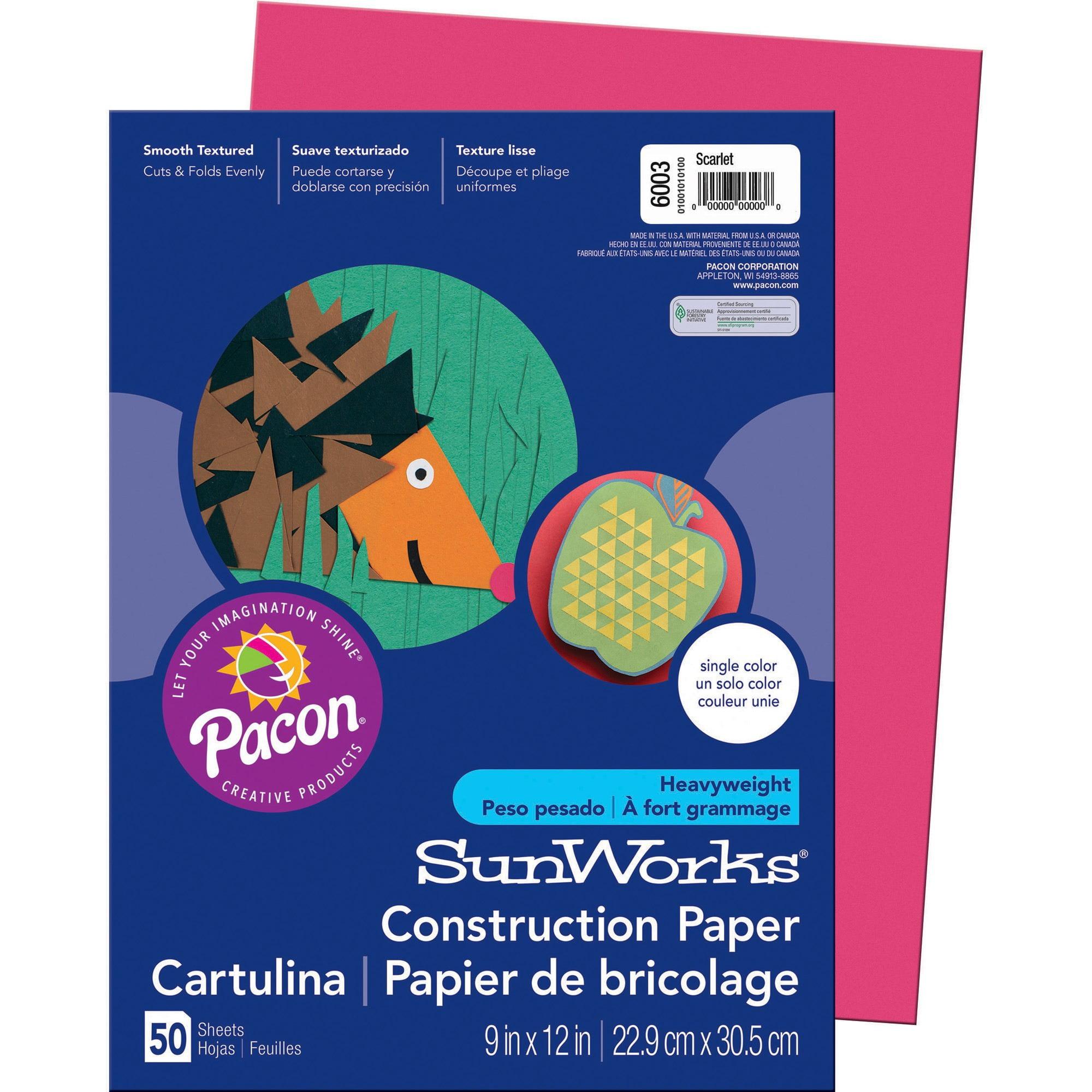 SunWorks, PAC6003, Construction Paper, 50 / Pack, Scarlet