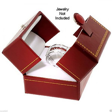 New Classic Cartier Design Leatherette Red Double Doors Ring Gift Box w/ Packer