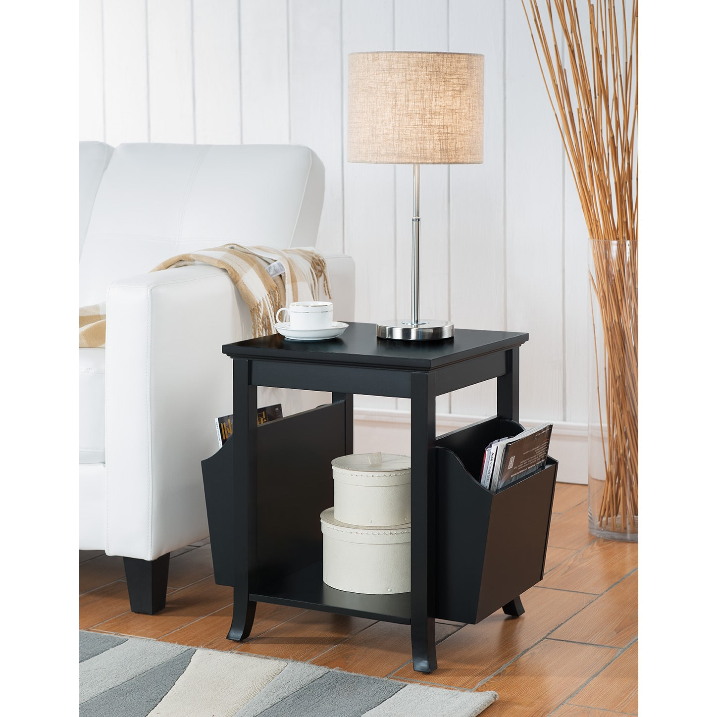 K and B Furniture Co Inc K & B Furniture Black Wood Veneer Accent Table With Magazine Rack by Overstock