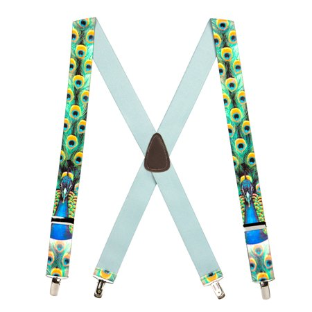 Suspender Store Peacock Bird Clip-End Novelty Suspenders (3 Sizes) - Novelty Suspenders