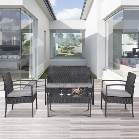 4 Pieces Sofa Wicker Conversation Set, Outdoor Furniture on with Two Single Sofa, One Loveseat, Tempered Glass Table, Patio Furniture Sets for Porch Poolside Backyard Garden, Q16395
