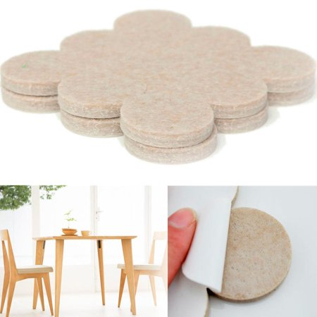 18 Self Adhesive Felt Floor Protectors Round Beige Pads Furniture Chair Scratch (Felt Protector Pads)