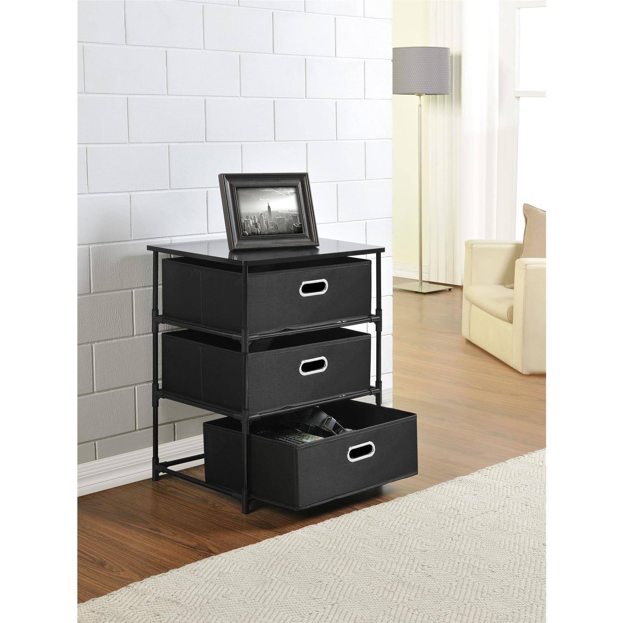 Ameriwood Home Sidney 3 Bin Storage End Table Black