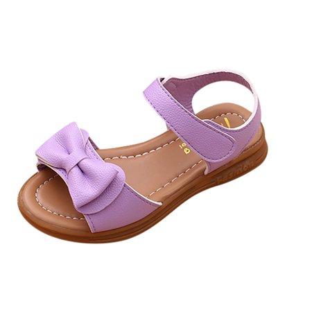 Outtop Children Kids Infant Girls BowknotSandals Non-Slip Princess Casual Shoes (Purple Kids Clogs)