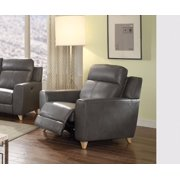 Recliner (Power Motion), Gray Leather-Aire Match