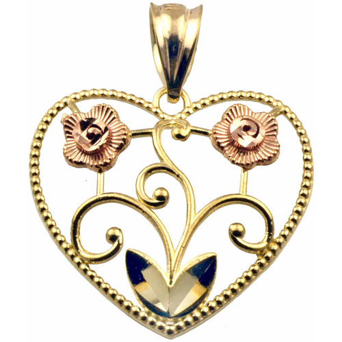 US GOLD Handcrafted 10kt Gold Two-Tone Floral Heart Charm Pendant