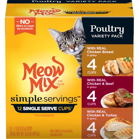 Meow Mix Simple Servings Poultry Variety Pack, Wet Cat Food, 1.3-Ounce (Pack of 12) - Halloween Cat Meow Sound