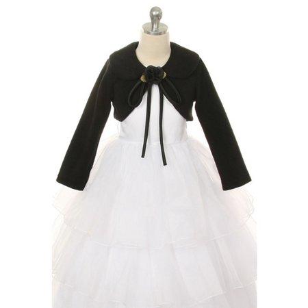 Black Flower Special Occasion Fleece Bolero Jacket Girl 6 - Special Occasion Jacket